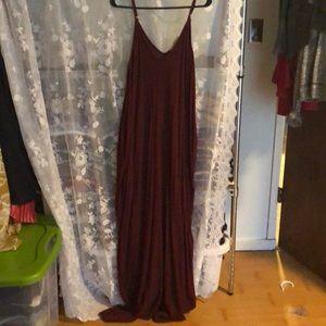 Maroon oversized maxi dress